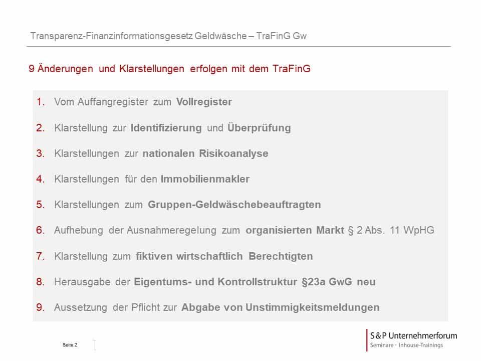 TraFinG: Welche neuen Pflichten sind zu beachten?